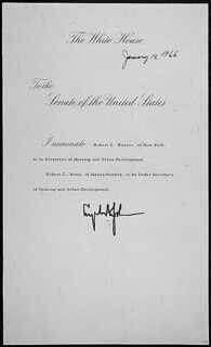 Message of President Lyndon B. Johnson nominating Robert C. Weaver of New York to be Secretary of Housing and Urban Development, 01/14/1966