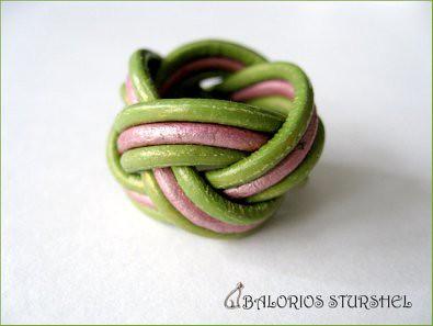 Anillo Nudo Cabeza de Turco Verde&Rosa blog