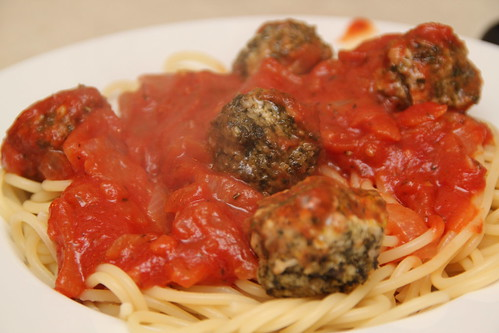 Turkey Pesto Meatballs and Tomato sauce