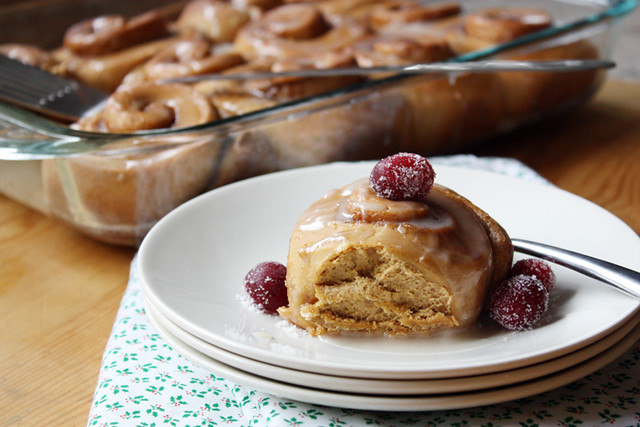 Gingerbread Cinnamon Rolls | girlversusdough.com @stephmwise