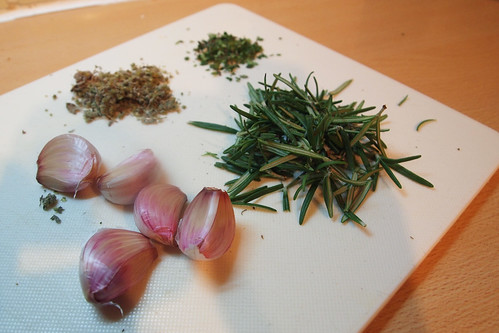 Herbs and garlic all ready to season