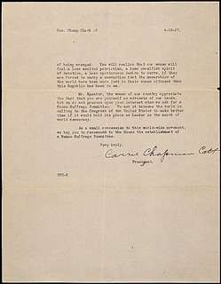 Petition from Carrie Chapman Catt of the National American Woman Suffrage Association, 04/13/1917 (page 1 of 2)