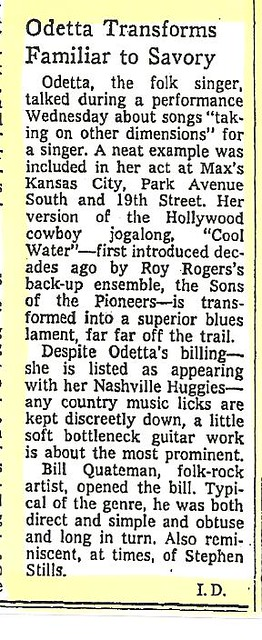 04-27-73 NYT Review - Odetta @ Max's Kansas City