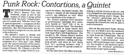 12-18-78 NYT REview - Contortions @ Max's Kansas City