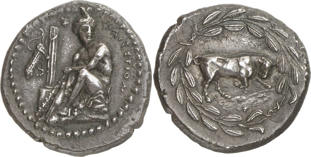 G935 A Rare and Magnificent Greek Silver Stater of Phaistos (Crete), Among the Finest Depictions of Herakles in Greek Numismatics