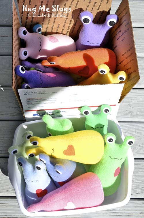 Fleece Hug Me Slug Art Toys by Elizabeth Ruffing, assorted colors