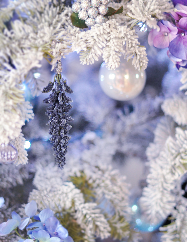 flocked Christmas Tree -  blue and purple and white christmas