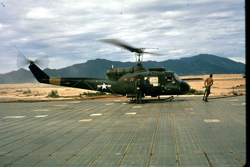Newly arrived Marine UH-1E ( Huey ) from VMO 6 at Chu Lai, Viet Nam; Sept. 1965