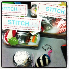 Pincushion jar and strawberry kits
