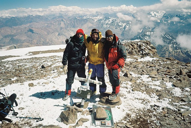 Jan 1,2005. Summit of Aconcagua with Magnus (Sweden) and Pablo (Argentina), Andean Range Argentina.