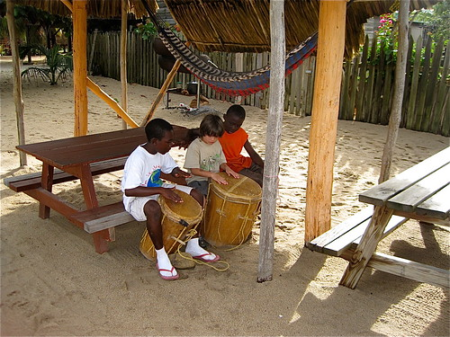 tribal drumming lessons with belize local boys