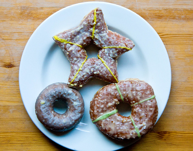 Holiday donuts (marzipan, sweet pear, and gingerbread), the Doughnut Plant