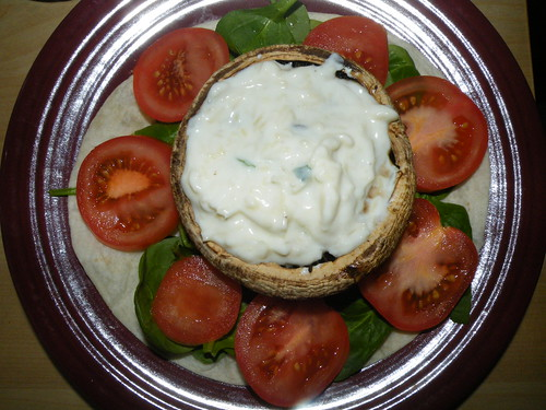 Portobello with yoghurt and cheese