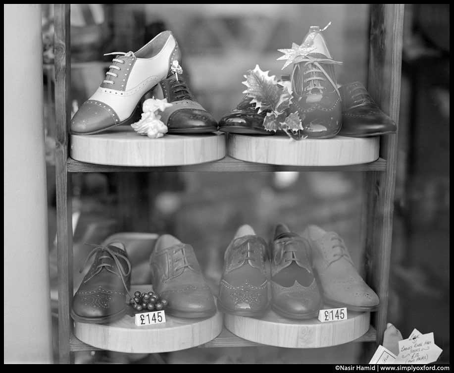 Shoes for sale in a shop window