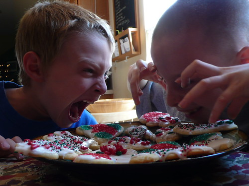 Sparky and Max decorating sugar cookies
