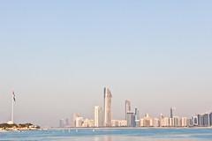 Abu Dhabi 2011 - Corniche Towers and the Flag of UAE