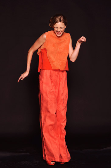Sydney Couture Studio Shoot, Orange Fashion Pants and Shift Shirt, Catherine Calvert Designer. Photography by Kent Johnson