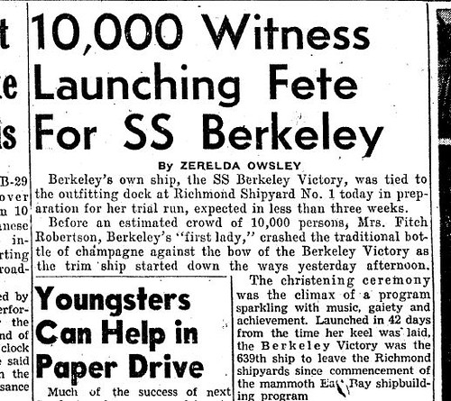 The launching of the SS Berkeley Victory warranted same-day coverage in the Berkeley Gazette on Jan. 1, 1945.