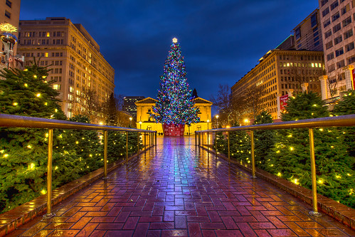 Christmas at Pioneer Courthouse Square at Blue Hour - HDR
