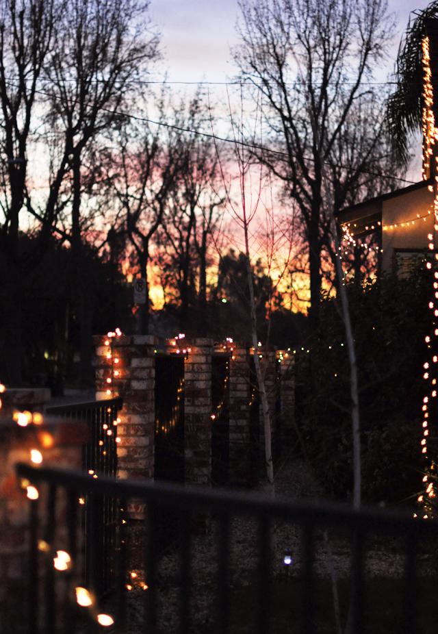 LA sunset-christmas lights-house