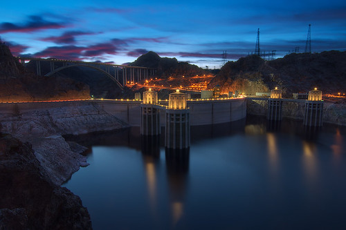 longexposure sunset water night dusk hooverdam lakemead hdr mikeocallaghan–pattillmanmemorialbridge