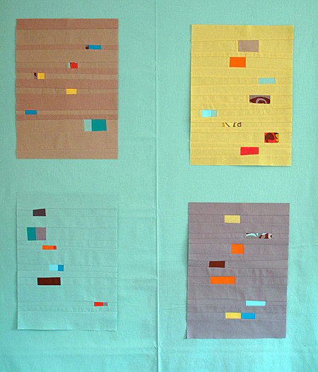 Bits and Pieces Quilt - testing green sashing