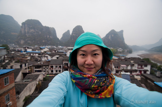 On the top of the hostel in Yangshuo