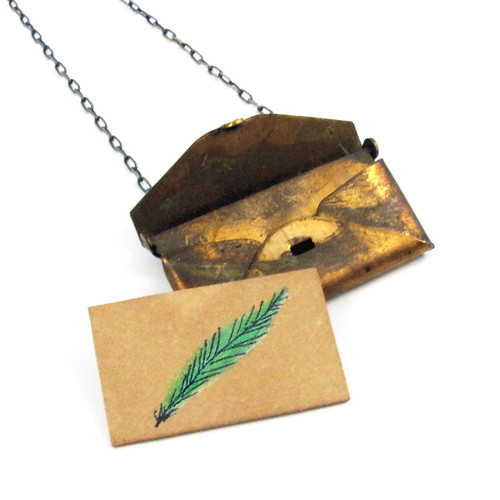Loved Letter Envelope Locket With Green Feather Drawing