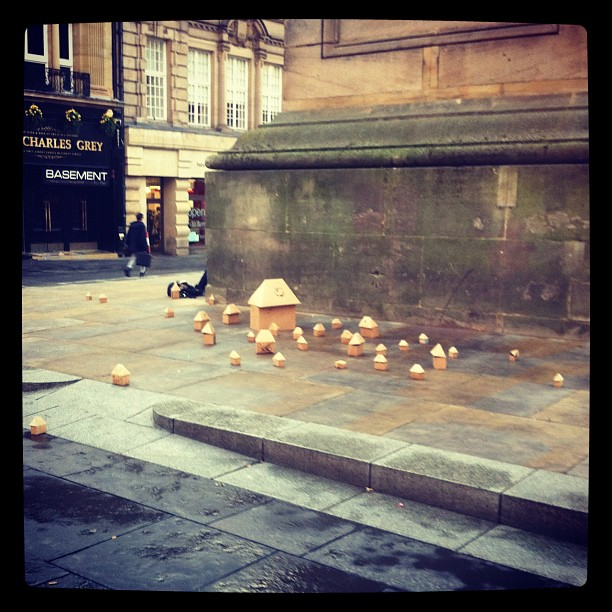 Noticed these little cardboard houses have taken the place of the Occupy protesters at the monument #newcastle #nefollowers