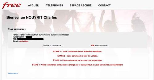 #FreeMobile Confirmation de ma commande, en attente de livraison by Charles Nouÿrit