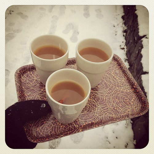 Cider party in the snow