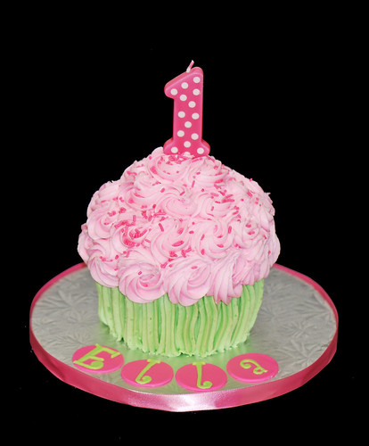 giant cupcake cake first birthday smash cake pink and green