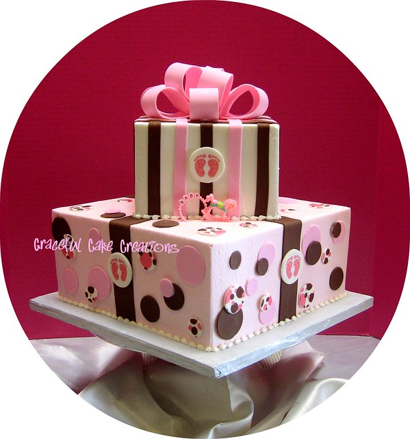 pink and brown baby shower cake flickr photo sharing