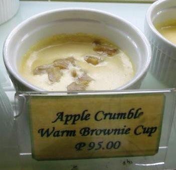 Apple Crumble Warm Brownie Cup