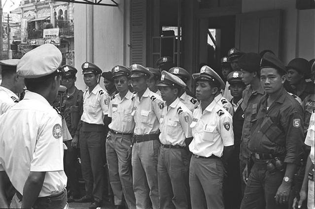 C7-23[1] Vietnamese policemen line up for duty in Cholon, Saigon June 1968