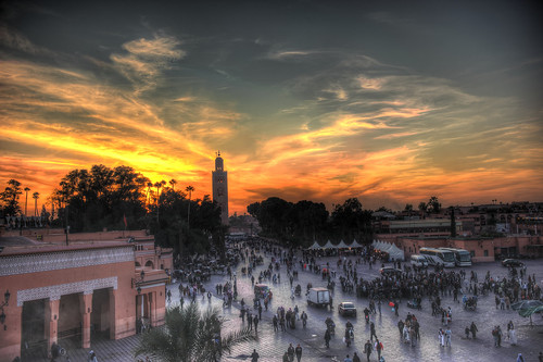 Marrakech, Kotoubia and Djemaa el Fna square at sunset