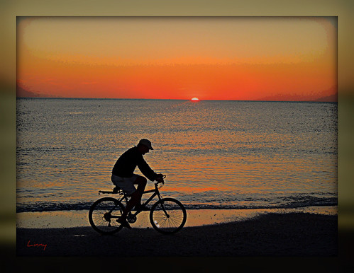 sunset beach gulfofmexico cyclist blinkagain