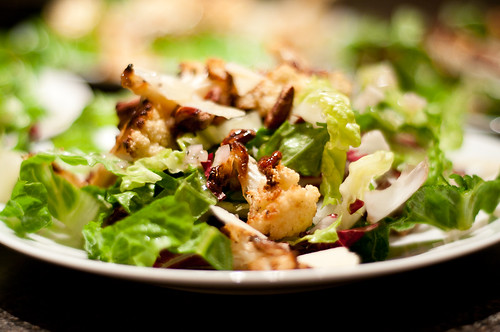 radicchio salad with roasted cauliflower and pecans