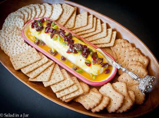 picy Mango and Cranberry Cream Cheese Appetizer - on large party platter