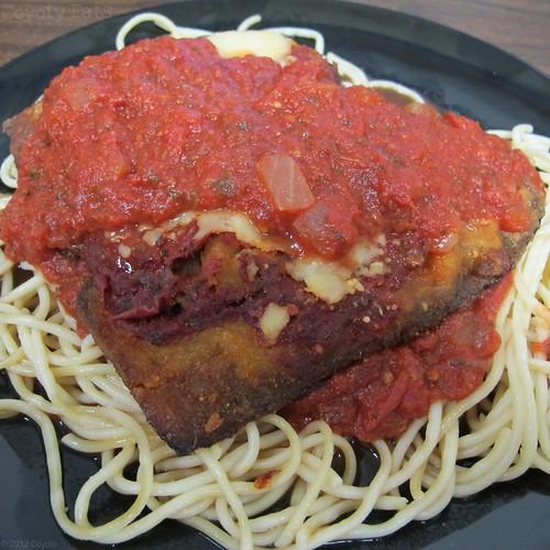 Eggplant parmigiana on spaghetti by Coyoty