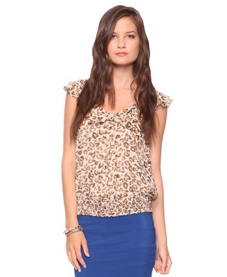 Animal Print Top with Bow