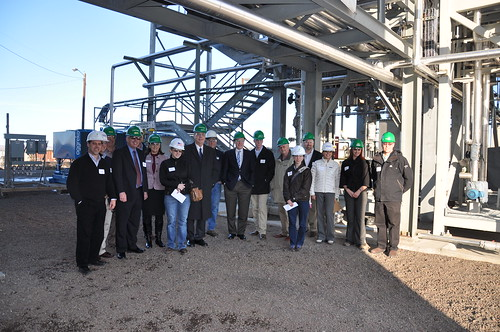 Under Secretary Dallas Tonsager (10th from right) tours a biorefinery site in Boardman, Oregon.  With USDA support, a new facility is planned that will turn softwood and agriculture waste into cellulosic ethanol.