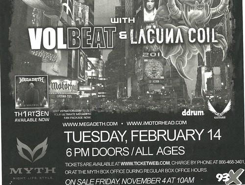 02/14/12 Megadeth/Motorhead/Volbeat/Lacuna Coil @ Myth, Maplewood, MN (Bottom)