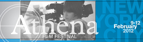 athena film festival logo banner in blue. a white woman is holding a camera in the background