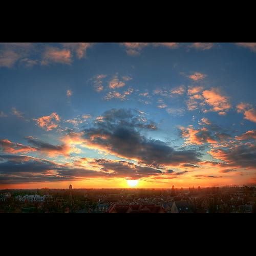 cambridge sunset panorama skyline hdr castlemount