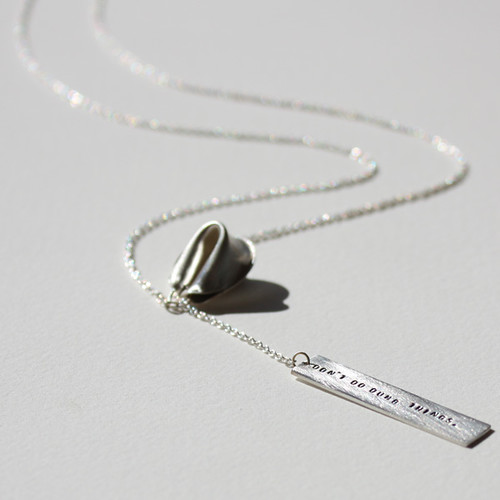 sterling silver fortune cookie lariat - don't do dumb things