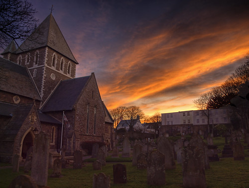 church graveyard clouds sunrise alderney