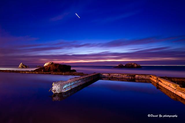 Sutro Bath Ruins San Francisco twilight blue moment