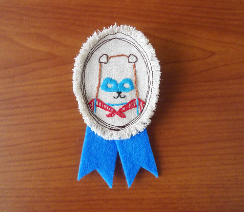 Medal Brooch - Embroidered Superhero Dog