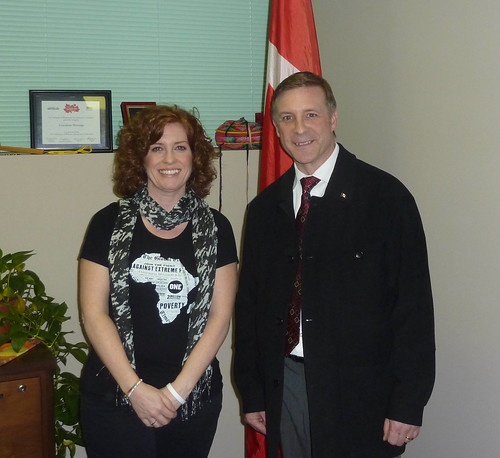 ONE member Sarah Stone meets Peter Braid, Conservative Member of Parliament for Kitchener-Waterloo, Ontario.